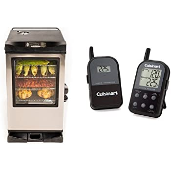 Masterbuilt 20077515 Front Controller Electric Smoker with Window and RF Controller, 30-Inch with Cuisinart Thermometer