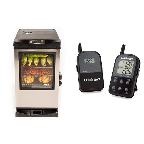 Masterbuilt 20077515 Front Controller Electric Smoker With Window And Rf Controller  30 Inch With Cuisinart Thermometer