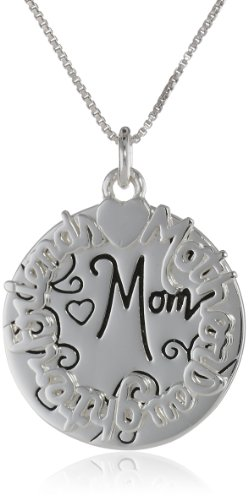 """Sterling Silver""""Mother Daughter Friend Mom"""" Two Charm Necklace, 18"""""""