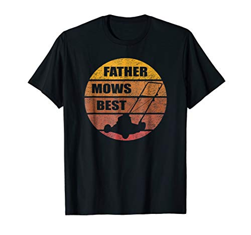 - Mens Vintage Sunset Lawn Mower Father Mows Best Silhouette Tshirt