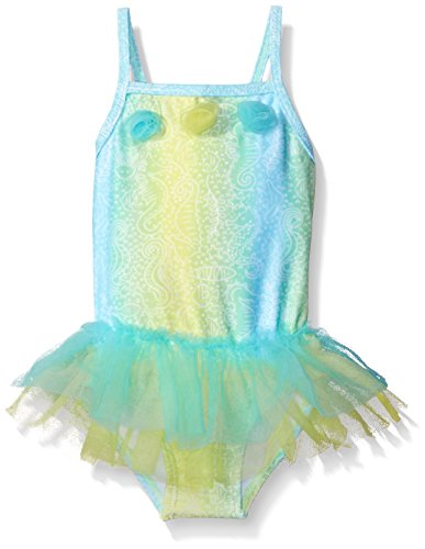 Candlesticks Baby Girls' Batik Print One Piece Swimsuit, Dark Aqua/Lime, 9 Months ()