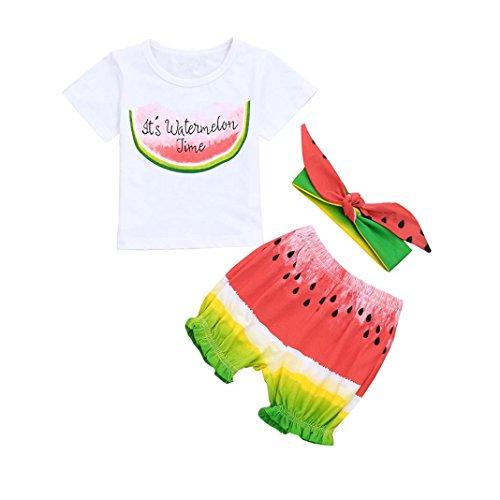 Willsa Toddler Baby Girls Boys Watermelon Printing Tops T-Shirt+Watermelon Shorts+ Bow Headbands Set ()
