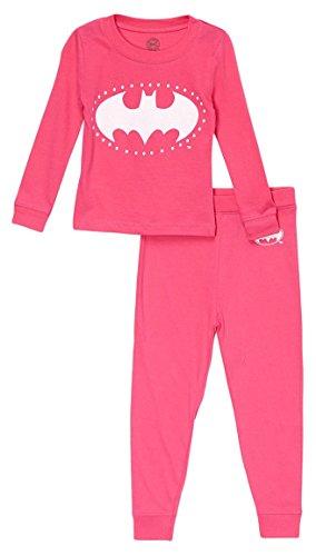 DC Comics Girls' Big Batgirl Long Sleeve Cotton Pajama Set, Pink, 8 -