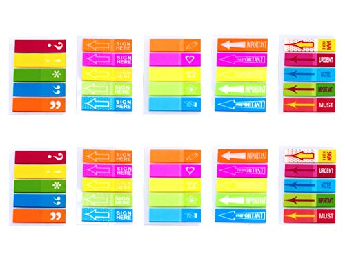 4A Sticky Notes Flags Set,Neon Color Index Label, Transparent Tabs Flags Stickers, Text Highlighter Strips Writable Labels Bookmarks,Assorted Printed,10 Pads/Set,1000 Flags Total,AAAA 4A 66114 ()