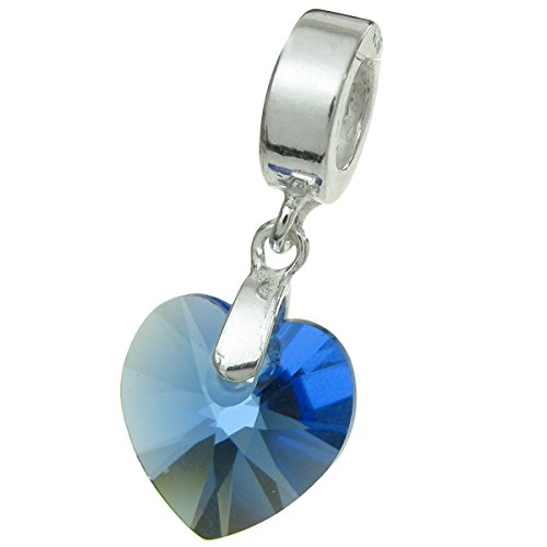 (Dreambell 925 Sterling Silver Birthday September Blue Heart European Dangle Charm using Swarovski Elements)