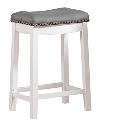 "Angel Line Cambridge 24"" Padded Saddle Stool, White w/Gray Cushion"