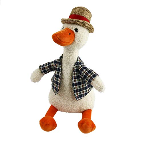 Houwsbaby Duck in Plaid Shirt Plush Toy Totter Stuffed Animal with Hat, Adorable Gift for Kids on Christmas, Birthday, Children's Day and Other Holidays, 11'', Beige
