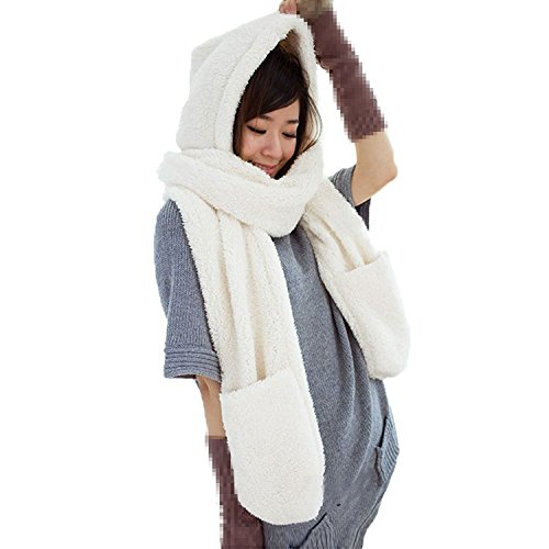 Women Warm Soft Fleece Hooded Scarf Hat Mitten all in one with Pocket for Winter,White,One Size