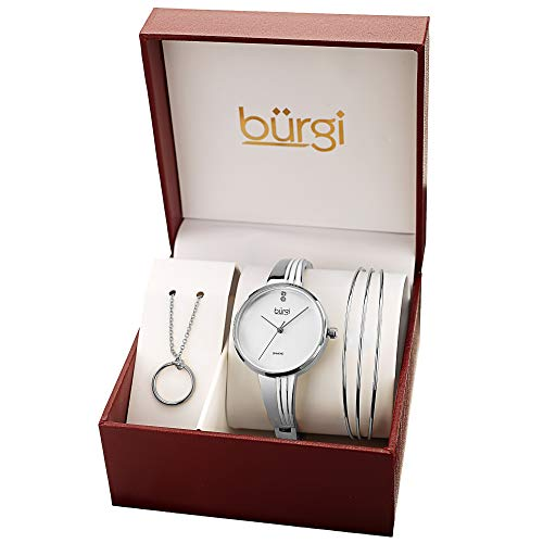 Burgi Women's Jewelry Gift Set - Half Bangle Diamond Watch, Circle Pendant Necklace and Open Bangle Bracelet - Flash Plated Silver - BUR208SS-S