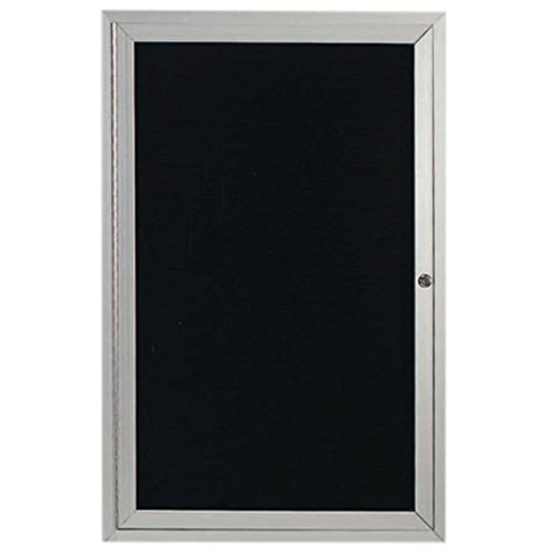 TableTop King OADC2418 24'' x 18'' Enclosed Hinged Locking 1 Door Satin Anodized Finish Aluminum Outdoor Directory Board with Black Letter Board