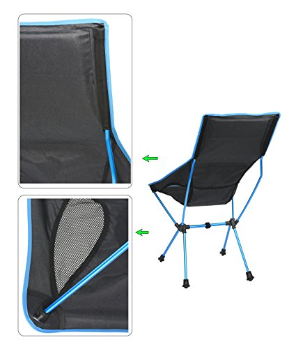 Lightweight Portable Folding High Back Camping Chair With Pillow,  Ultralight Compact Foldable For Outdoor Travel, Sport, Hiking, Backpacking