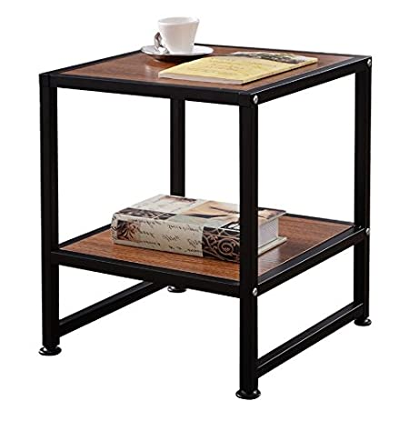 Gentil Industrial Side Table Steel U0026 Wood In Walnut   Square End Unit Lower  Storage Shelf Bundle