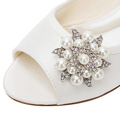 Cómodo y elegante soporte de zapatos de las mujeres pisos primavera/otoño otros Stretch satén boda/vestido/de cristal soporte de talón pearlblack/rosa/rojo/ rojo