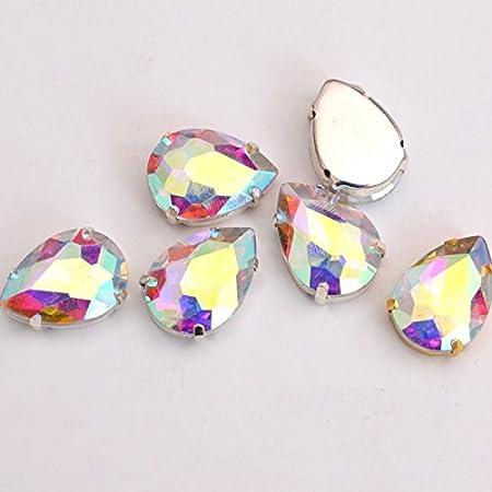 BrillaBenny - Piedra castaño Gota 10 mm x 14 mm Cristal Strass de Costura Crystal AB Aurora Boreale Cabochon Stone Claw