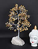 Crocon Yellow Aventurine Quartz Base Gemstone Money Tree Feng Shui Bonsai for Reiki Healing Chakra Stone Balancing Energy Generator Spiritual Home Interior Office Decor Size 10-12 Inch