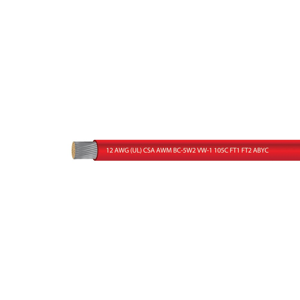 EWCS 12 AWG (UL) Marine Grade Primary Tinned Copper Wire 600 Volts - Red - 100 Feet - Made in USA by EWCS