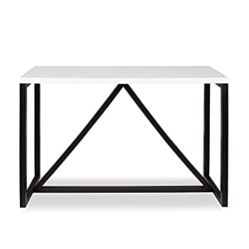Kate and Laurel Kaya Two-Toned Wood Console Table with White Top and Black Base