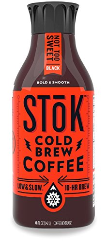 SToK Cold-Brew Iced Coffee, Not Too Sweet, 48 Ounce Bottle, 10-Hour Brew Cold-Brew Arabica-Based Coffee, Lightly Sweetened, Ready-to-Drink Coffee to Pour over Ice or Drink Hot