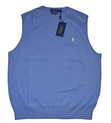 Polo Ralph Lauren Pony Men's Pima Cotton V Neck Sweater Vest Shelter (Ralph Lauren V-neck Sweater Vest)
