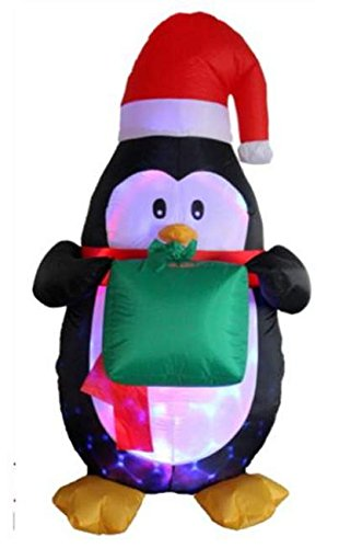 5 Ft Inflatable Flashing Penguin with Gift Box Indoor Outdoor Christmas Decorations