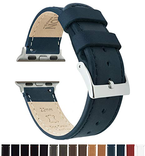 - Barton Leather Watch Bands Compatible with All Apple Watch Models - 38mm Navy Blue Leather & Stitching