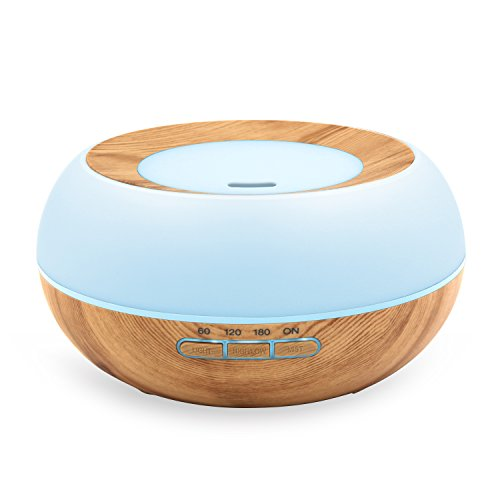 WSTA Essential Oil Diffuser, 300ml Ultrasonic Cool Mist Aroma Humidifier, 7 Color LED Lights Wood Grain Humidifier for Home,Office, Bedroom,Babyroom,Yoga,Spa