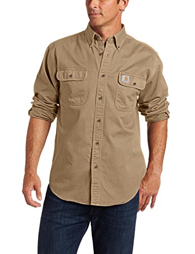 Field Short Sleeve Top (Carhartt Men's Oakman Sandstone Twill Original-Fit Work Shirt, Cottonwood, Regular)