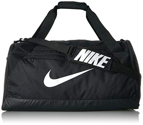 - Nike Brasilia Training Duffel Bag, Versatile Bag with Padded Strap and Mesh Exterior Pocket, Medium, Black/Black/White