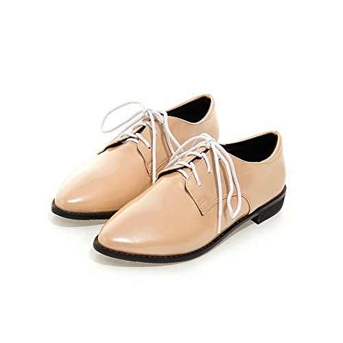 Pumps Lace Heels Pointed Shoes Closed Solid WeiPoot Low up apricot Toe Women's w0X5wxUqz