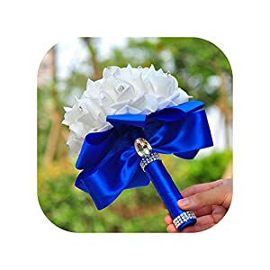 mamamoo 1 PC Bridesmaid Wedding Decoration Foam Flowers Rose Crystal Bridal Bouquet White Satin Ribbon Romantic Wedding Bouquet,Blue 82