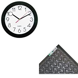 KITCWNECR310CHUNV10421 - Value Kit - Crown Mats ECR310CHA ECO-PLUS Floor Mat, 35 x 118, Charcoal (CWNECR310CH) and Universal Round Wall Clock (UNV10421)