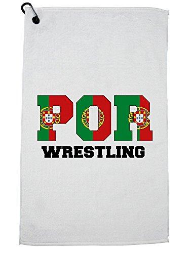 Hollywood Thread Portugal Wrestling - Olympic Games - Rio - Flag Golf Towel with Carabiner Clip by Hollywood Thread