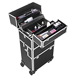 VIVOHOME 3 In 1 Rolling Makeup Train Case Aluminum Professional Artist Cosmetic Organizer Box with 360 Degree Wheels Shoulder Straps 2 Keys Black(Cosmetic are not included)