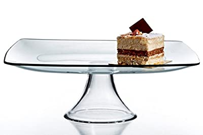 Circleware Chic Large Square Clear Glass Cake Serving Food Dish