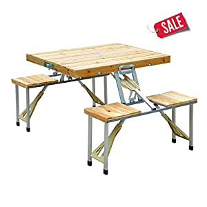 Long Wooden Bench Picnic Table Outdoor Seat Portable Folding Camping Aluminum Case -Skroutz
