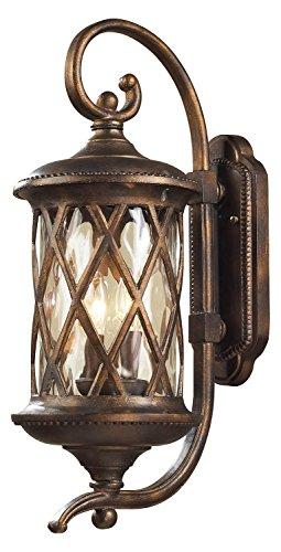 Barrington Gate 2 Light Outdoor Sconce in Hazlenut Bronze and Designer Water Glass