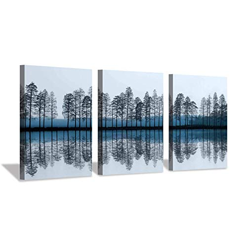 Abstract Landscape Canvas Wall Art: Reflection of Trees & Lake Artwork Print Painting on Canvas for Dining Room (16'' x 12'' x 3 Panels) (Blue Art Navy Abstract)