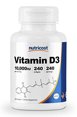 Nutricost Vitamin D3 10,000 IU, 240 Softgel ()