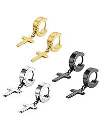 Flongo Men's Womens Vintage Stainless Steel Cross Dangle Hinged Hoop Earrings, Stainless Steel Hoop Huggie Earrings Cross Drop Dangle Earrings