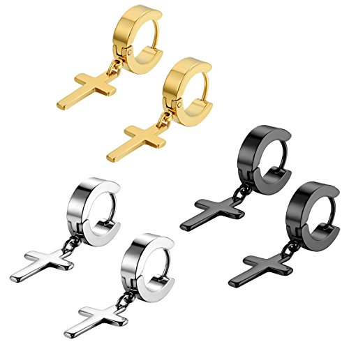 Flongo Men's Womens 6PCS Vintage Stainless Steel Cross Dangle Hinged Hoop Earrings, Stainless Steel Hoop Huggie Earrings Cross Drop Dangle Earrings