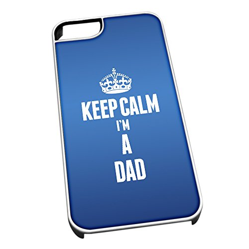 Bianco Cover per iPhone 5/5S Blu 2561 Keep Calm I m A Dad