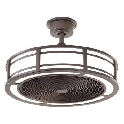Brette Indoor/Outdoor Ceiling Fan with Two 23W LED Light Strips, 23-Inch, Espresso Bronze