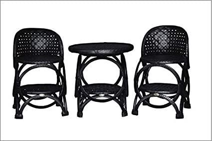 DeDzines Handcrafted High Lounge Chair with High Tea Table Set (Matte, Black) for Home Décor/Office/Garden/Corporates/Restaurant/Hotels