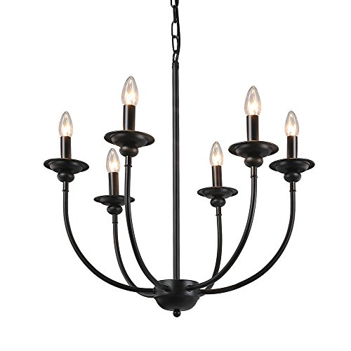 LALUZ 6-Light Traditional Chandelier Lighting Pendant Lights Chandeliers (Outdoor Light Six Chandelier)