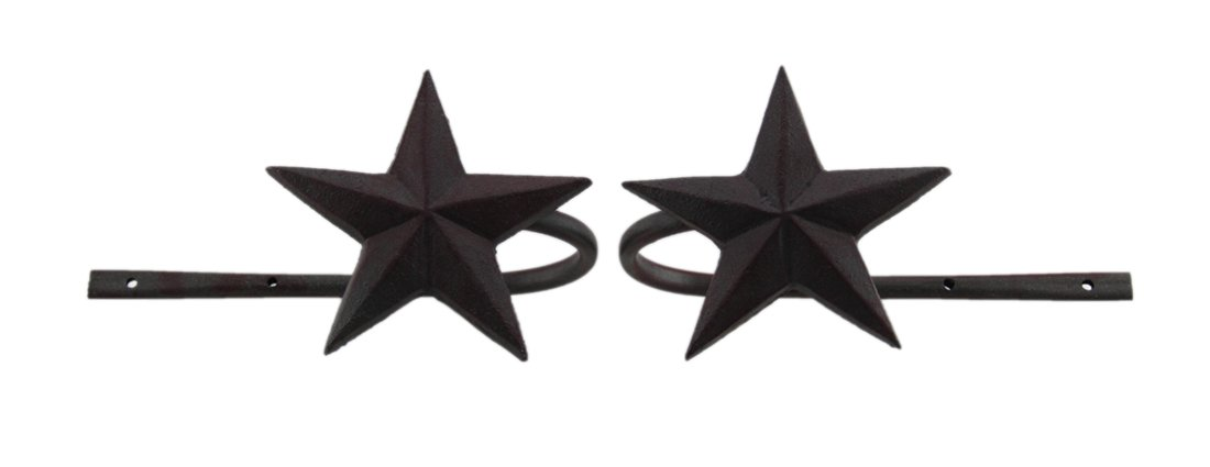 Zeckos Cast Iron Window Treatment Swag Holders Dark Rustic Red Star Set Of 2 Metal Curtain Holdbacks 8.75 X 5 X 4.25 Inches Burgundy