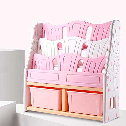 WCJ Pink Children's Bookshelf Simple Modern Bookshelf Multi-Function Lockers Children's Toys Storage Rack Combination Bookcase