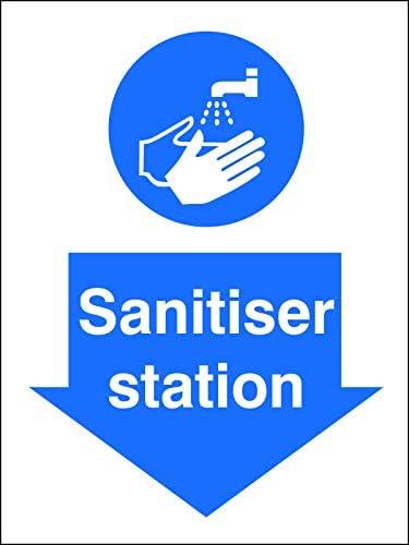 200x300mm Self-Adhesive Vinyl Safety Sign SECOSANITISER Station