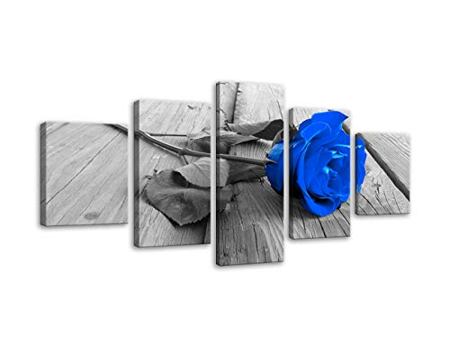 Black White Blue Rose Flower on Grey Wooden Board Modern 5 Panels Decorative Painting Canvas Wall Art for Living Room Bedroom Bathroom Stretched and Framed Ready to ()
