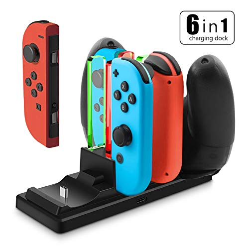 (Controller Charger for Nintendo Switch, Findway 6 in 1 Charging Dock Station for Switch Joy-Con and Pro Controllers with USB Type-C Cable Power Anti-Slip Base)
