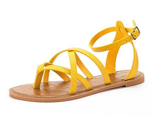 DREAM PAIRS Womens Slim Ankle Straps Flat Sandals Yellow xQJTqnaiB